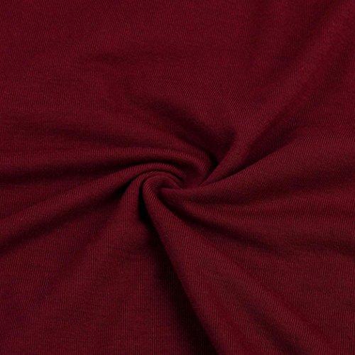 Siswong Femmes Sexy bretelles Dentelle à manches longues Pull loose Blouse T-shirt Vin rouge