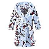 VEMOW Heißer Unisex Morgenmäntel Kinder Baby Print Flanell Bademäntel Hoodie Handtuch Pyjamas Nachtkleid Bademantel (X1-Blau, 5-6 Years)