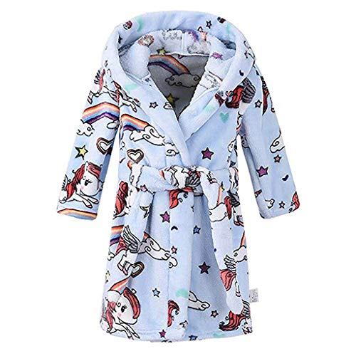 Beikoard Unisex-Kinder Bademäntel Print Flanell Bademäntel Kapuzenhandtuch Schlafanzug Nachthemd Bademantel
