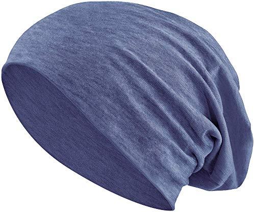 Jersey Baumwolle elastisches Long Slouch Beanie Unisex Mütze Heather in 35 (3) (Heather Grey-Blue) -