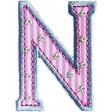 91ac377f5172c N 9cm ABC rosa blau Geschenk Stoff Patch Namen Buchstaben zum Aufbügeln auf Tasche  Turnsack Fahne
