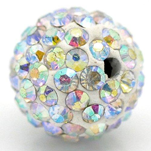 10mm Disco Kugeln Perlen aus Ton Tschechische Kristall Shamballa Pavé Premium Qualität, White AB Crystal, 20PCS (Disco-kugel 24)
