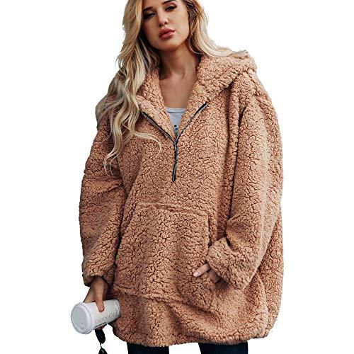 Lannister Fashion Damen Winter Strickjacke Warm Hoodies Lange Sweatshirt Kapuzenjacke Schwangeren Zip Hoodie Sweatjacke Langer Kapuzenpullover Manteljacke Einfarbig Sport Outwear Klassischer