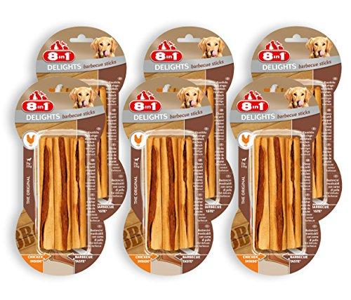 8in1 Delights Barbecue BBQ Kausticks (gesunder Kausnack für Hunde von 2 bis 35 kg, hochwertiges gedrehtes Hähnchenfleisch, geräuchert für feinwürzigen Grillgeschmack), 6er Pack (6 x 75 g)