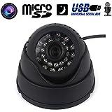 Mini caméra dôme surveillance USB Micro SD vision nocturne noir