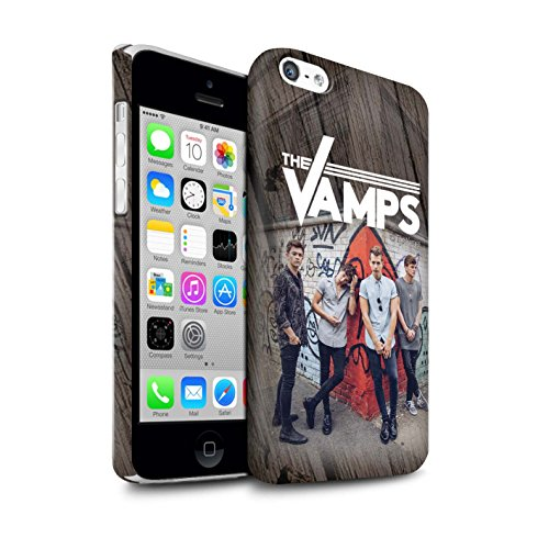 Officiel The Vamps Coque / Clipser Matte Etui pour Apple iPhone 5C / Pack 6pcs Design / The Vamps Séance Photo Collection Effet Bois