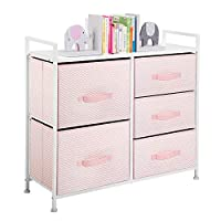 mDesign Fabric 5-Drawer Dresser and Storage Organizer Unit for Bedroom, Dorm Room - Pink/White