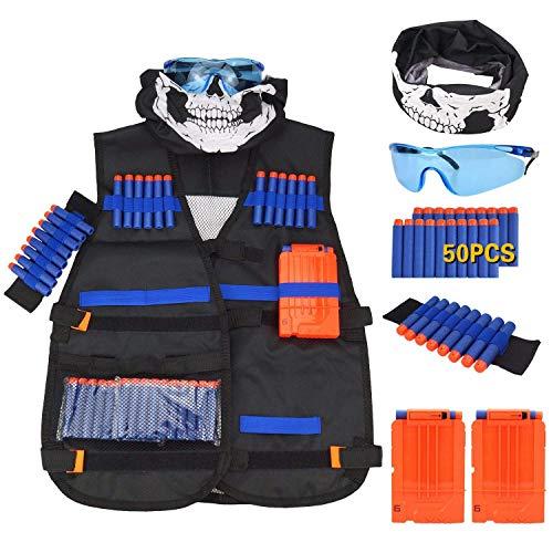 HQP Taktische Weste Kit für Kinder, Taktische Weste Jacke Set für Nerf Gun N-Streik Elite Series mit 50 er Darts + 1 Schutzbrille + 1 Nahtlose Gesichtsmaske+ 2er Clip Magazine + 1 Armbände (Nerf Im Streik)