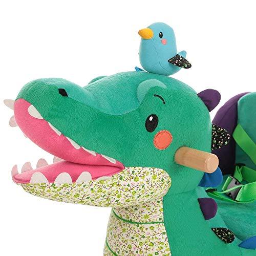 Labebe Baby Schaukelpferd Holz, Schaukelpferd Plüsch, Schaukelpferd Grün Krokodil für Baby 1-11 Jahre Alt, Schaukelpferd Kinder/Schaukel Baby//Schaukeltier Grün/Spielplatz Schaukeltier/Kleine Schaukel - 6