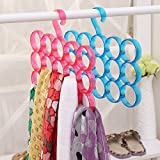 LAZYKARTS® 2017 Hot Sale Home Bedroom Clothes Scraf Belt Single Piece 15-Circle Hanger Rack for Scarf, Shawl, Tie, Belt, Closet Accessory Wardrobe Organizer (Assorted Colors)