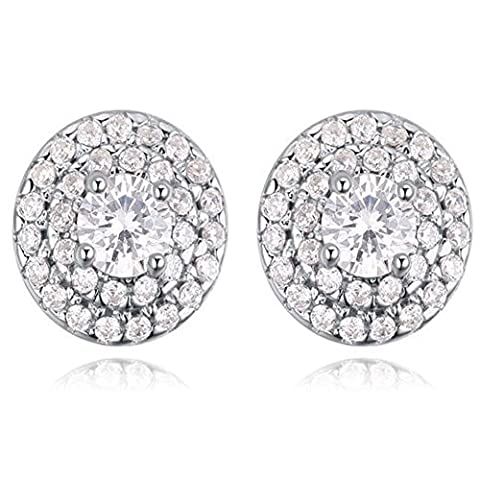 XG S925 Sterling Silver Wild Lady Anti-allergique White Round Simple Micro Inlay Zircon Stud Earrings