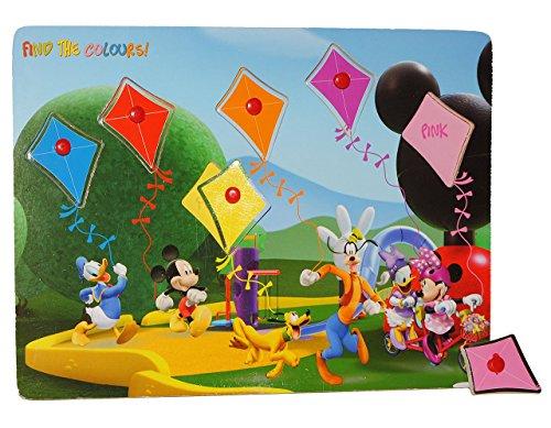 Puzzle mit Griffen - Holzpuzzle / Legespiel - Mickey Mouse - Farben + Formen / Griffe Griff - für Kinder Steckpuzzle - Formenpuzzle / Farbenpuzzle Maus aus Holz - für Kleinkinder Motorik lernen Lernspiel Mickey-mouse-holz-puzzle