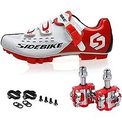 TXJ Chaussures de Vélo Cyclisme de Vtt avec Pédale de vélo de Vtt EU Größe 45 Ft 28.5cm (SD-001 Rouge / Blanc)(Pédale Rouge)