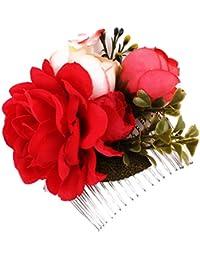 Sharplace Peine Nupcial de Flores Artificiales Peineta de Pelo Horquilla de Novia Joyas para Mujer Boda
