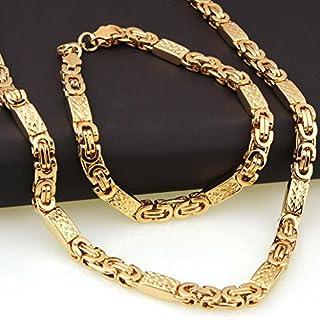 Herren Edelstahl Halskette Herren Accessoires Square Link Kette Halskette + Armband Set