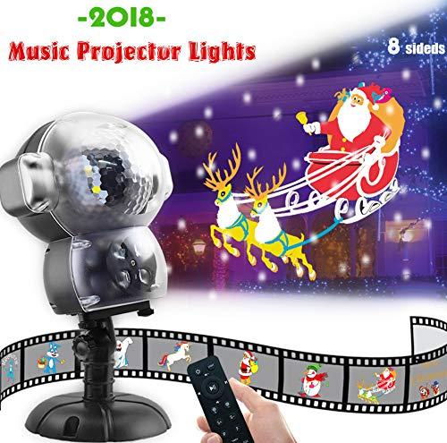 Jeenso led nevicata animation proiettore, illuminazione esterno di natale halloween luci con funzione di riproduzione musicale e telecomando
