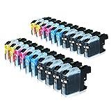 20 Tintenpatronen für Brother LC-225XL 227XL, MFC-J4420DW MFC-J4620DW 4-in1, DCP-J4120DW MFC-J4425DW MFC-J4625DW, Schwarz je 28ml, Color je 13ml