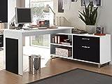 Die besten Winkelschreibtisches - möbelando Winkelschreibtisch Schreibtisch Büroschreibtisch Eckschreibtisch Margate I Weiß/Schwarz Bewertungen