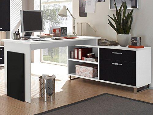 möbelando Winkelschreibtisch Schreibtisch Büroschreibtisch Eckschreibtisch Margate I Weiß/Schwarz
