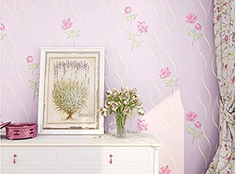 Stereoscopic 3D pastoral coining non-woven wallpaper warm pink bedroom children's