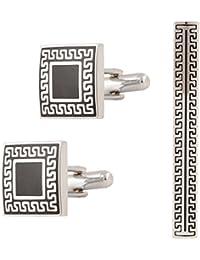 TRIPIN Silver Brass Cufflinks for Men in a Box