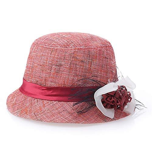 SHENTIANWEI Frühling und Sommer Neue Leinen koreanische Mode Hut Visier, Mutter Becken Kappe Sonnencreme (Color : Red)