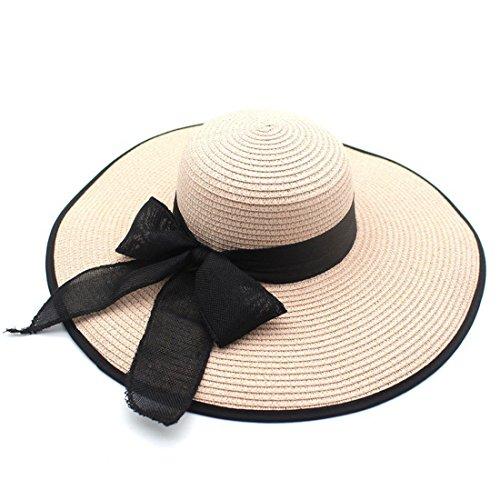 CHH Hat Frau Sommer Hüte extra große Vordächer Outdoor Strohhut, B