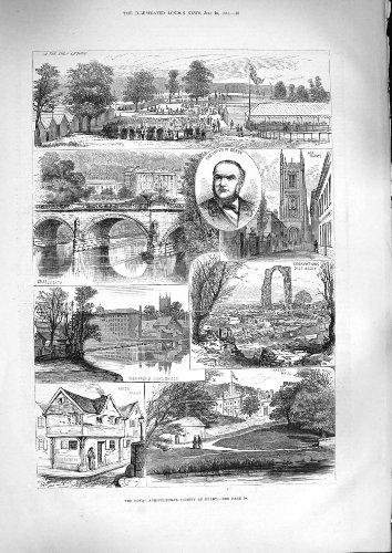 Maire Agricole Haddon Chatsworth de Derby de la Société 1881 par original old antique victorian print