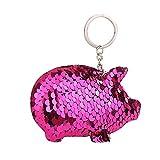Lonshell Pailletten Schwein Schlüsselanhänger Glänzendes Anhänger Mode Reflektierend Schlüsselringhalter Handtasche Schlüsselbund Frauen Geldbörse Anhängeranhänger (Pink)
