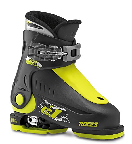 Roces Kinder Skischuhe Idea Up Größenverstellbar, Black-Lime, 25/29, 450490-018