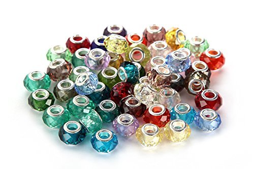 brcbeads Top Qualität Mix Silber Teller Murano Lampwork europäischen Glas Kristall Charms Perlen Spacer für Pandora Troll Chamilia Carlo Biagi Zable Schlange Kette Charm-Armbänder., silber, 50pcs -