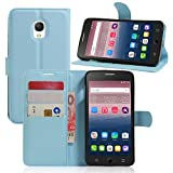 Alcatel One Touch Pop Star 5022D Hülle,Frlife | Bookstyle Handyhülle Premium PU-Leder klapptasche Case Brieftasche Etui Schutz Hülle für Alcatel One Touch Pop Star 5022D Blau