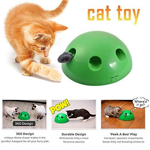 Gorgeousy Neuheiten Pop N Play Katzenspielzeug, um 360 ° drehbar, elektronisch intelligent, zufällig bewegter Feder- und Maus-Teaser, Maus-Quietschgeräusch optional und automatische Abschaltung