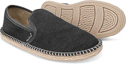 normani Sommer Schuhe - Klassische Espadrillas - Flache Stoffschuhe - Freizeitschuhe für Damen und Herren [Gr. 36-46] Farbe Schwarz Style 1 Größe 46