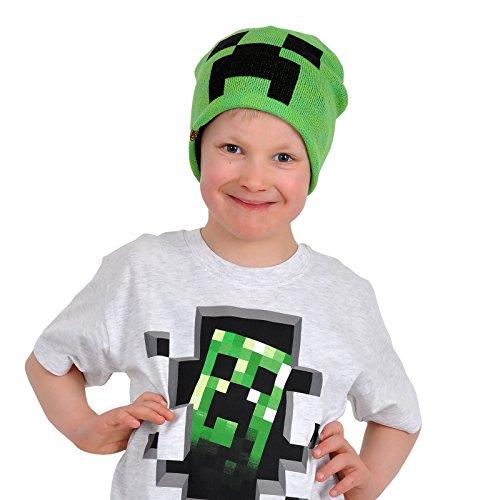 Knallgrün Minecraft Creeper Beanie Mütze hochwertig Farbklecks für jede Jahreszeit doppellagig warm - (Beanie Mütze Minecraft)