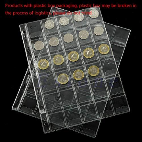 zijianZZJ Gedenkmünze, Rare 30 Pockets Classic Plastic Coin Holders Sheets for Storage Collection Album Case (Album Coin Pocket)