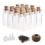 Whonline 60piezas 10ml Mini Botellas de Cristal Botellas de Vidrio Con Tapón de Corcho Pequeños Frascos de Vidrio , 60 Piezas Tornillos de Ojo y Cordel de 30Metros Botellas de Mensajes