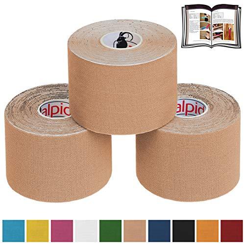BB Sport 3 Rollen Kinesiologie Tape 5 cm x 5 m E-Book Anwendungsbroschüre Elastisches Tape Set, Farbe:beige