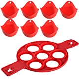 PChero Silicone Pancake Maker with 7 Moulds + 7pcs Silicone Egg Poachers, for Easy Fast Pancake and Egg Cooking