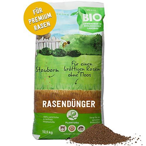 Plantura Bio Rasendünger mit 3 Monate Langzeit-Wirkung, ideal im Frühjahr und Sommer, Rasen Dünger gegen Moos, staubarmes Granulat, unbedenklich für Haustiere, tierfreundlich, Langzeitdünger