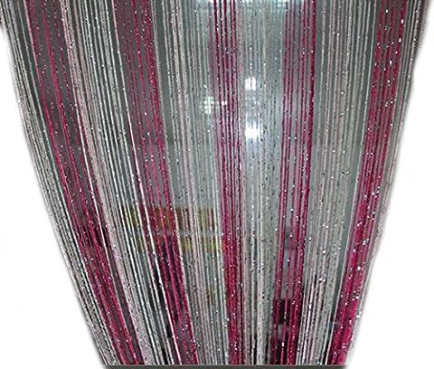 Yiyida 2pièces Argenté brillant Franges Tige à suspendre Corde Partition intercalaire 100x 200cm Mur Rideau de porte, plusieurs couleurs