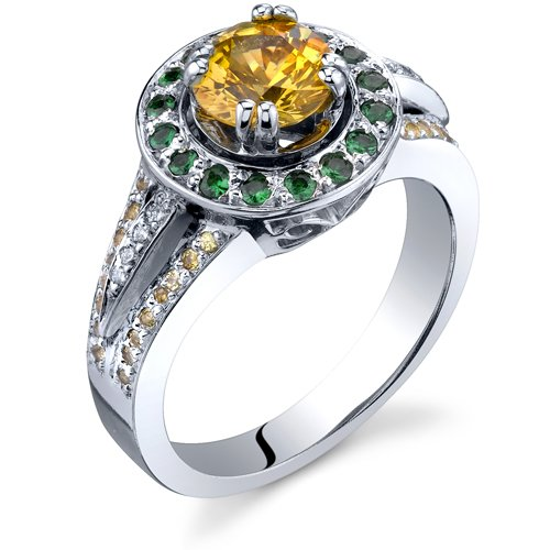Revoni-14 Karat White Gold 1.70 carats Yellow Sapphire, Tsavorite Diamond Engagement Ring