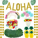 267 Stücke Hawaiian Luau Thema Party Dekoration Set Beinhaltet Tropische Palmblätter Hibiskusblüten Seidenpapier Ananas Aloha Banner Obst Strohhalme Hawaiian Cupcake Toppers Papier Regenschirme
