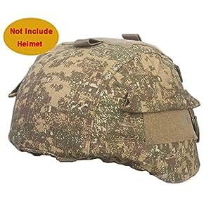 WorldShopping4U MICH 2000 Ver2 Combat Cover Helmet Avec Velcro Retour Housse pour Tactical Airsoft Paintball Militaire Chasse (BL)