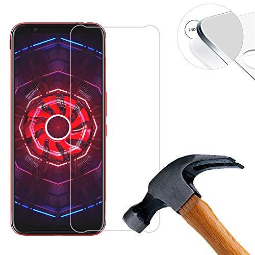 Lusee 2 X Pack Panzerglasfolie für ZTE Nubia Red Magic 3 6.65 Zoll Tempered Glass Hartglas Schutzfolie Folie Bildschirmschutz 9H (Nur den flachen Teil abdecken)