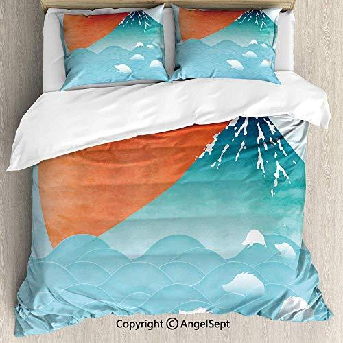 Soefipok Bettwäscheset 3-teilig mit 2 Kissenbezügen, Asian Artsy Image Japanische fernöstliche Natur Sun Ocean und Mountain Vermilion Seafoam Baby Blue, für Erwachsene/Kinder (Seafoam Baby Bettwäsche)