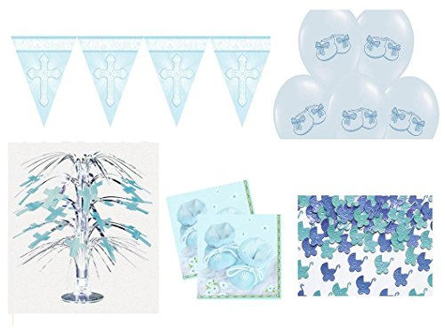 Party Deko Set Taufe blau 29 teilig Junge Tisch Deko Taufe Komplettset
