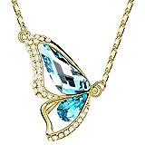 Halskette Damen Schmetterling Zirkonia Kristall Strass Swarovski Elements 18KGP Anhänger Butterfly Gold-hellblau