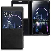 kwmobile Funda potectora práctica y chic con tapicería de cuero sintético FLIP COVER para Samsung Galaxy S5 / S5 Neo / S5 LTE+ / S5 Duos en negro