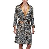 Herren Kimono Morgenmantel Satin Bademäntel Nachtwäsche Seidenrobe Lang Stil